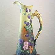 Incredible Handpainted Limoges Tankard with Blackberries