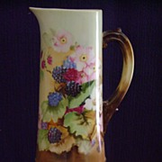 Antique Limoges handpainted Tankard Pitcher with Blackberries