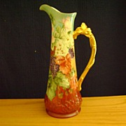Antique Limoge Handpainted Tankard Pitcher decorated with Blackberries