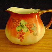Vintage Limoge Handpainted Pitcher decorated with Currants