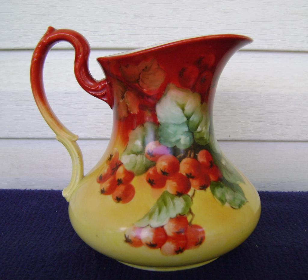 Antique Limoges Handpainted Pitcher with Currants