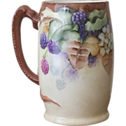 Dragon handled handpainted Mug with Blackberries