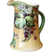 Handpainted Limoges Pitcher with Blackberries