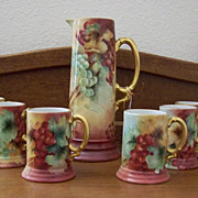 Handpainted Tankard Set with Grapes