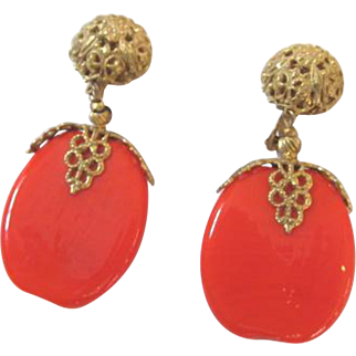 Miriam Haskell Red Glass Bead Earrings Gold Tone Filigree Signed