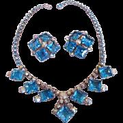 Dramatic Aqua & Aurora Borealis Rhinestone Necklace & Earrings Set