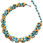 Kramer Aqua Caged Lucite Bead Necklace