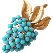 Trifari Aqua Bead and Rhinestone Strawberry Brooch