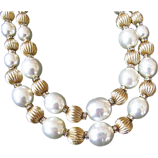 Vendome Signed Coro Simulated Baroque Pearl Necklace with Rhinestones and Gold Tone Beads Two Strand
