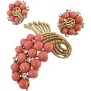 Trifari Coral Colored Bead & Rhinestone Brooch and Earrings