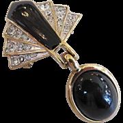 Trifari Black Enamel & Rhinestone Articulated Brooch