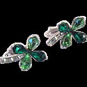 Trifari Green Rhinestone Shamrock Alfred Philippe Earrings