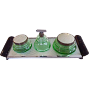 Art Deco Green Uranium Glass & Gillouche Vanity Dresser Set
