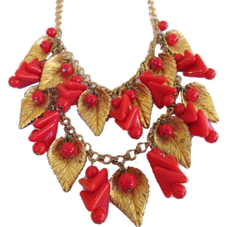 Miriam Haskell Red Beads and Gold Tone Leaves Festoon Necklace Early Unsigned Frank Hess Design