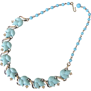 Lisner Aqua Lucite and Rhinestone Floral Necklace