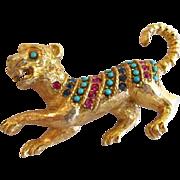 Vendome Rhinestone & Cabochon Tiger Brooch