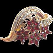 Trifari Alfred Philippe Red & Clear Rhinestone Twinkle Brooch