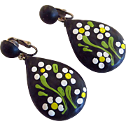 Matte Black Earrings with Floral Enameling