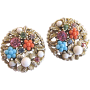 ART White Enamel Earrings with Pastel Beads and Rhinestones