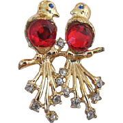 Red Rhinestone Birds Brooch
