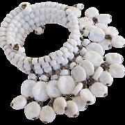 Miriam Haskell White Baroque Milk Glass Bracelet
