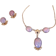 Van Dell Dragon's Breath Gold Filled Necklace and Earrings Set