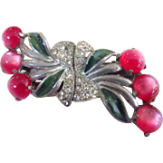 Art Deco Coro Duette Moonglow Rhinestone Brooch