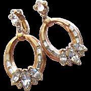 Crown Trifari Rhinestone Hoop Earrings Alfred Philippe
