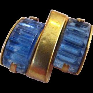 Blue Rhinestone Invisibly Set Brooch