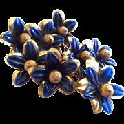 Miriam Haskell Blue Flowers Brooch Frank Hess