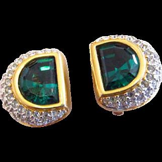 Swarovski Green and Clear Rhinestone Earrings
