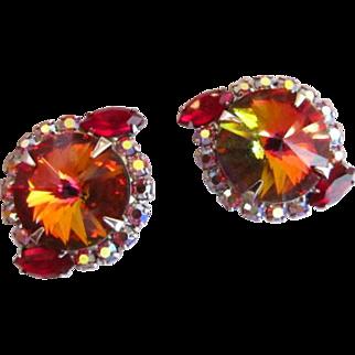 Heliotrope Rivoli Rhinestone Earrings