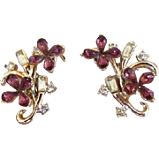 Purple and Clear Rhinestone Floral Earrings