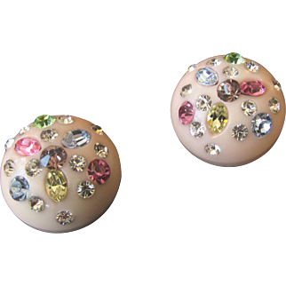 Weiss Pink Lucite and Rhinestone Earrings