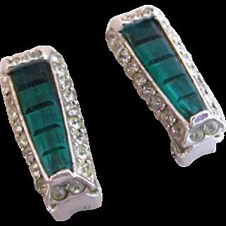 Rare Reja Green Invisibly Set Rhinestone Earrings