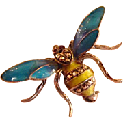 Alice Caviness Sterling Silver Germany Enamel and Marcasite Bee Brooch Signed