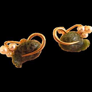Krementz Jade and Cultured Pearl Earrings