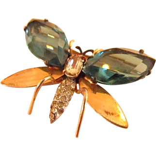 Reis Blue Rhinestone and Gold Filled Butterfly Insect Brooch