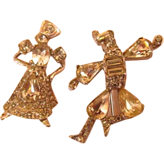 Rhinestone Dancing Couple Scatter Pins Set