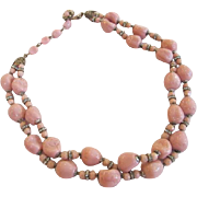 Miriam Haskell Pink Glass Bead Necklace with Rhinestone Rondels
