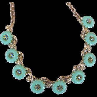 Seafoam Lucite Floral Necklace with Aurora Borealis Rhinestones