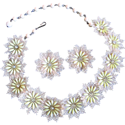 Coro Feathery Yellow Floral Necklace and Earrings Set with Rhinestones