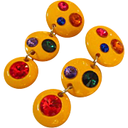 Mod Pop Art Bright Yellow Lucite Earrings with Rhinestones