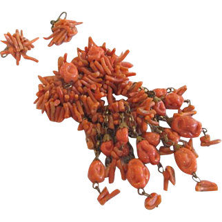 Miriam Haskell Spezzati Branch Coral Brooch and Earrings Set Frank Hess Design