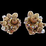 Hobe Crystal and Filigree Gold Tone Earrings