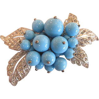 Miriam Haskell Blue Bead and Rhinestone Brooch Frank Hess Unsigned 1930's