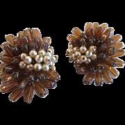 Robert Brown Bead and Simulated Pearl Earrings