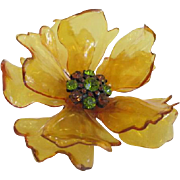 Gold Colored Lucite Flower Brooch with Rhinestones