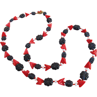 Miriam Haskell Red White and Blue Glass Bead Necklace