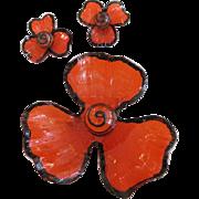 Lucite Orange Flower Brooch and Earrings Set